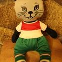 Bagira -öltöztethető cica baba nemzeti mez ruha szettel együtt, 45 cm-es öltöztethető textil cica baba nemzeti ...