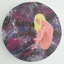 Festmény: Születésem előtt, Képzőművészet, Otthon, lakberendezés, Festmény, Akril, Festészet, 30 cm átmérőjű kör alakú vászonra készült akrilfestmény, csillogó és gyöngyház hatással. meditáció ..., Meska