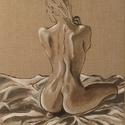 Akt (olaj), Képzőművészet, Dekoráció, Festmény, Olajfestmény, Festészet, Eredeti festmény a művésztől! Olajfestmény, belga feszített lenvásznon. A képet kiváló minőségű fes..., Meska