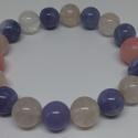 Hematoid kvarc, akvamarin, pink jade - ásványkarkötő, Ékszer, Karkötő, Ékszerkészítés, Hematoid kvarc, akvamarin, pink jade - ásványkarkötő, Meska