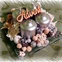 Gyönyörű ezüst karácsonyi asztaldísz, Dekoráció, Ünnepi dekoráció, Karácsonyi, adventi apróságok, Karácsonyi dekoráció, Csodaszép ezüst színben pompázó karácsonyi asztaldísz, mely üvegtálra készült.  Egy moder..., Meska