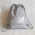 Ezüst - szürke mintás hátizsák, Táska, Hátizsák, Designer pamutvászon és textilbőr kombinációjában készült 2 rétegű hátizsák.  Belseje pamutvászonnal..., Meska