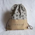 Arany - drapp mintás hátizsák, Táska, Hátizsák, Designer pamutvászon és textilbőr kombinációjában készült 2 rétegű hátizsák.  Belseje pamutvászonnal..., Meska