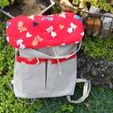 Piros - drapp cicás sokzsebes hátizsák!, Táska, Hátizsák, Varrás, Elkészült ez az ízig vérig szuper cuki cicás táska. Amit többféleképpen is hordhatnunk. Hátizsákkán..., Meska
