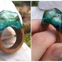 Tengeri mélység - fa és gyanta gyűrű 20 mm , Ékszer, Gyűrű, Egyedi és különleges mohával gazdagított gyanta gyűrű. Áttetsző, kék, csillámos, hullámo..., Meska
