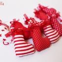 karácsonyi czimácskák, Dekoráció, Ünnepi dekoráció, Karácsonyi, adventi apróságok, Karácsonyfadísz, Varrás, Ünnepi pirosba öltözteti a Karácsonyt, ez az igazán mutatós és ünnepi karácsonyi szett.  Jól mutat ..., Meska