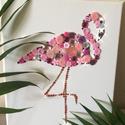 Flamingó strassz és gomb vászonkép, Dekoráció, Otthon, lakberendezés, Kép, Falikép, Mozaik, 24x30cm vászonképre egyenként ragasztott flamingó kép.   Ha valakinek van saját ötlete, azt is nagy..., Meska