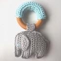 Ella elefánt, Játék, Plüssállat, rongyjáték, Horgolás, Ella egy rágóka, mely  segíti a babák fogzását és játék is egyben, mivel a szürke elefántba csörgő ..., Meska