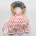 Ella elefánt - rózsaszín, Játék, Plüssállat, rongyjáték, Ella egy rágóka, mely  segíti a babák fogzását és játék is egyben, mivel a rózsaszín elef..., Meska