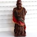 szobor, textilszobor, afrikai szobor, afrikai torzó, egyedi szobor, Képzőművészet, Otthon, lakberendezés, Szobor, Újrahasznosított alapanyagból készült termékek, Ez egy afrikai szobor torzó. A fej gipszből készült, a többi része textilből.  Ragasztóval  keményí..., Meska