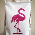 Textilbőr táska, Baba-mama-gyerek, Ruha, divat, cipő, Táska, Hátizsák, Flamingó ...  Különleges alapanyagokból, készleten,azonnal vihető!  Sportos, vagány figyelemfelkeltő..., Meska
