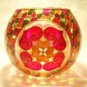 Mandala gömbmécses, Szeretet színek együtt... :)  Mérete: kb. 10cm ...
