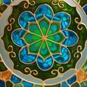 Kék-zöld nagy kocka mécses , Kék és zöld különböző árnyalataival festet...