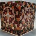 Tulipános kocka mécses, Közepes méretű kocka mécses, négy oldalán tu...