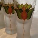 Pálinkás/Szeszes pohárkészlet  (6db pohár), Férfiaknak, Esküvő, Dekoráció, Egyszerű kis szeszes/pálinkás pohárkészletet festettem, nagyon szép tulipán mintával... A minta egye..., Meska