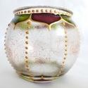 Mini gömböcske, Dekoráció, Otthon, lakberendezés, Gyertya, mécses, gyertyatartó, Mini gömb mécses, virágszirom mintával. A minta egyedi, saját tervezésű.  Méret: kb. 8cm  Színei: ar..., Meska