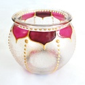 Mini gömböcske, Dekoráció, Otthon, lakberendezés, Gyertya, mécses, gyertyatartó, Mini gömb mécses, virágszirom mintával.  Méret: kb. 8cm  Színei: arany kontúr, réz csillám, színes. ..., Meska
