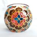 Mini gömböcske, Dekoráció, Otthon, lakberendezés, Gyertya, mécses, gyertyatartó, Mini gömb mécses, mandala mintával.  Méret: kb. 8cm  Színei: arany kontúr, arany csillám, barna, fla..., Meska