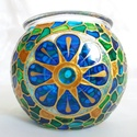 Mini gömböcske, Dekoráció, Otthon, lakberendezés, Gyertya, mécses, gyertyatartó, Mini gömb mécses, mandala mintával.  Méret: kb. 8cm  Színei: arany kontúr, arany csillám, óceán kék,..., Meska