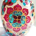 Mandala mécses, Otthon & lakás, Dekoráció, Lakberendezés, Gyertya, mécses, gyertyatartó, Hordó alakú, közepes méretű mécses, körben négy szív mandalával...  Színei: arany, indiai pink, ég k..., Meska
