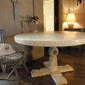 Vintage fa asztal d:130cm egyedi festéssel, Bútor, Asztal, Festett tárgyak, Vintage fa asztal d:130cm egyedi festéssel, Meska