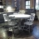 Vintage shabby country körasztal és 5 szék, Bútor, Asztal, Vintage shabby country körasztal és 5 szék.Egyedi festési technikával,koptatva., Meska