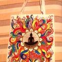 Buddha táska, Képzőművészet, Mindenmás, Ruha, divat, cipő, Táska, Inspiráló,mandalaszerű mintával láttam el ezt a lenvászon táskát. Alkotásaimban szeretném kifejezni,..., Meska