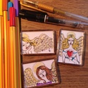 """Hűtőmágnesek angyalokkal, Dekoráció, Képzőművészet, Szépségápolás, Grafika, Festett tárgyak, Fotó, grafika, rajz, illusztráció, Remek ajándék hölgyeknek,de kérésre készítek """"fériasabbat"""" is :-) Fontos: egyenként kézzel készítet..., Meska"""