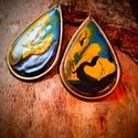 Csepp alakú tűzzománc fülbevaló, Ékszer, Képzőművészet, Fülbevaló, Tűzzománckodásaim egyik darabja ez a fülbevaló,amit sárgaréz alapon készítettem el. Mérete..., Meska