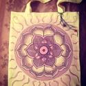 Mandalás vászontatyó, Képzőművészet, Táska, Textil, Válltáska, oldaltáska, Mandala imádatom új terméke ez az egyedi festésű  lenvászon táska.Rávasalt minta,így teljes..., Meska