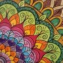 Mandala /akril festmény, Dekoráció, Képzőművészet, Festmény, Akril, Ezt a szép mandalát préselt lemezre kasírozott, alapazott festővászonra festettem akrillal.A végén s..., Meska