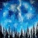 Éjjeli fenyves/akril festmény, Képzőművészet, Otthon, lakberendezés, Festmény, Akril, Festészet, Ezt a szép festményt vastag kartonra kasíroztam, amit alapazott festővászonra festettem akrillal.A ..., Meska
