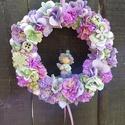 Virágos ajtódísz, Dekoráció, Dísz, Mindenmás, Virágkötés, Nyári színekben tündöklő, saját készítésű ajtódísz. Remélem tetszik  :) Méret: 24 cm, Meska