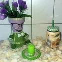 Újhullámos kaspó Lili, gyertyatartvóval, szívószálas teás bögrével, kerti- és szoba dekoráció, Otthon, lakberendezés, Dekoráció, Kaspó, virágtartó, váza, korsó, cserép, Újhullámos kaspó Lili, gyertyatartvóval, szívószálas teás bögrével, kerti- és szoba dekor..., Meska