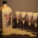 Rókás, fácános italos díszüveg és röviditalos pohárszett vadászoknak., Otthon, lakberendezés, Férfiaknak, Horgászat, vadászat, Sör, bor, pálinka, Decoupage, transzfer és szalvétatechnika, Rókás, fácános italos díszüveg és röviditalos pohárszett vadászoknak.  Mi sem lehet különlegesebb, ..., Meska