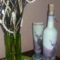 Szarvasos italos díszüveg és sörös pohár egy szettben vadászoknak, Otthon, lakberendezés, Férfiaknak, Horgászat, vadászat, Sör, bor, pálinka, Decoupage, transzfer és szalvétatechnika, Szarvasos italos díszüveg és sörös pohár egy szettben vadászoknak  Mi sem lehet különlegesebb, mint..., Meska