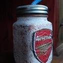 Arsenal foci emblémás sörös korsó vagy szívószálas üveg kettő az egyben, Konyhafelszerelés, Férfiaknak, Bögre, csésze, Focirajongóknak, Decoupage, transzfer és szalvétatechnika, Arsenal foci emblémás sörös korsó vagy szívószálas üveg kettő az egyben  Foci rajongó a család apra..., Meska