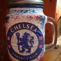 Chelsea foci emblémás sörös korsó vagy szívószálas üveg kettő az egyben, Konyhafelszerelés, Férfiaknak, Bögre, csésze, Focirajongóknak, Decoupage, transzfer és szalvétatechnika, Chelsea foci emblémás sörös korsó vagy szívószálas üveg kettő az egyben  Foci rajongó a család apra..., Meska