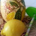 Citromos szívószálas limonádés üdítős pohár hőségben kötelező kellék!, Konyhafelszerelés, Baba-mama-gyerek, Bögre, csésze, Baba-mama kellék, Decoupage, transzfer és szalvétatechnika, Citromos szívószálas limonádés üdítős pohár -  hőségben kötelező kellék!  A külső bevonatnak köszön..., Meska