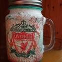 Liverpool foci emblémás sörös korsó vagy szívószálas üveg kettő az egyben, Konyhafelszerelés, Férfiaknak, Bögre, csésze, Focirajongóknak, Decoupage, transzfer és szalvétatechnika, Liverpool foci emblémás sörös korsó vagy szívószálas üveg kettő az egyben  Foci rajongó a család ap..., Meska