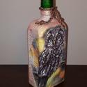 Bagoly decoupage italos dísz-és használati üveg őszi dekoráció, Otthon, lakberendezés, Férfiaknak, Sör, bor, pálinka, Tárolóeszköz, Decoupage, transzfer és szalvétatechnika, Bagoly decoupage italos dísz-és használati üveg őszi dekoráció.   Kettős funkció:  Kiváló őszi deko..., Meska