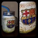 Barcelona foci rajongói sörös korsó vagy szívószálas üveg kettő az egyben, Férfiaknak, Focirajongóknak, Sör, bor, pálinka, Decoupage, transzfer és szalvétatechnika, Barcelona foci rajongói sörös korsó vagy szívószálas üveg kettő az egyben  Foci rajongó a család ap..., Meska