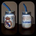 Real Madrid foci rajongói sörös korsó vagy szívószálas üveg kettő az egyben, Férfiaknak, Focirajongóknak, Sör, bor, pálinka, Decoupage, transzfer és szalvétatechnika, Real Madrid foci rajongói sörös korsó vagy szívószálas üveg kettő az egyben  Foci rajongó a család ..., Meska