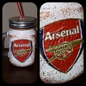 Arsenal foci rajongói sörös korsó vagy szívószálas üveg kettő az egyben, Férfiaknak, Focirajongóknak, Sör, bor, pálinka, Decoupage, transzfer és szalvétatechnika, Arsenal foci rajongói sörös korsó vagy szívószálas üveg kettő az egyben  Foci rajongó a család apra..., Meska