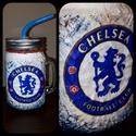 Chelsea foci rajongói sörös korsó vagy szívószálas üveg kettő az egyben, Férfiaknak, Focirajongóknak, Sör, bor, pálinka, Decoupage, transzfer és szalvétatechnika, Chelsea foci rajongói sörös korsó vagy szívószálas üveg kettő az egyben  Foci rajongó a család apra..., Meska