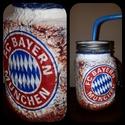 Bayern München foci rajongói sörös korsó vagy szívószálas üveg kettő az egyben, Férfiaknak, Focirajongóknak, Sör, bor, pálinka, Decoupage, transzfer és szalvétatechnika, Bayern München foci rajongói sörös korsó vagy szívószálas üveg kettő az egyben  Foci rajongó a csal..., Meska