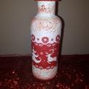 Piros-fehér rénszarvasos karácsonyi váza, ünnepi dekoráció, Dekoráció, Otthon, lakberendezés, Ünnepi dekoráció, Kaspó, virágtartó, váza, korsó, cserép, Decoupage, transzfer és szalvétatechnika, Piros-fehér rénszarvasos karácsonyi váza, ünnepi dekoráció  A piros-fehér színvilágot kedvelőkenk a..., Meska