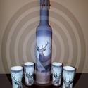 Szarvasos italos díszüveg röviditalos poharakkal vadászoknak szarvas motívummal, Otthon, lakberendezés, Férfiaknak, Horgászat, vadászat, Sör, bor, pálinka, Szarvasos italos díszüveg röviditalos poharakkal vadászoknak szarvas motívummal  Mi sem lehet különl..., Meska