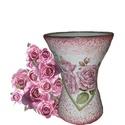 Rózsa romantika üveg íves váza anyák napi meglepetés virág mellé, Otthon, lakberendezés, Anyák napja, Kaspó, virágtartó, váza, korsó, cserép, Rózsa romantika üveg íves váza valentin napi meglepetés virág mellé.   Kiváló ajándék val..., Meska
