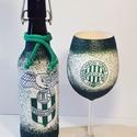 FTC futball rajongóknak csatos dísz-és használati üveg boros pohárral